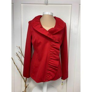 INC Ruffled Double Breasted Jacket Red Med NWT